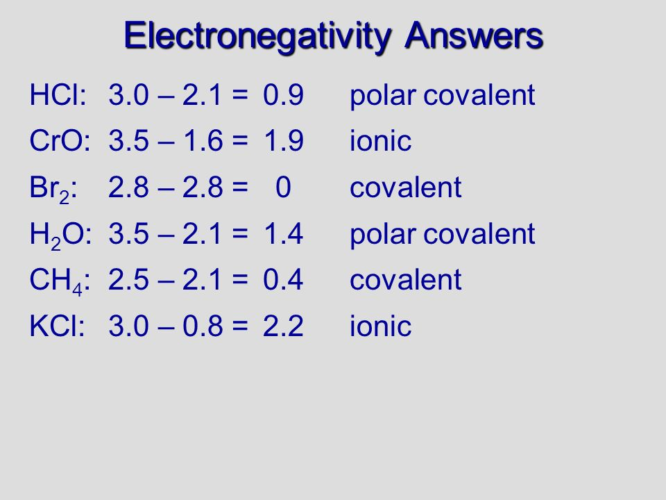 Electronegativity Recall that electronegativity is a number that describes the relative ability of an atom, when bonded, to attract electrons. The per