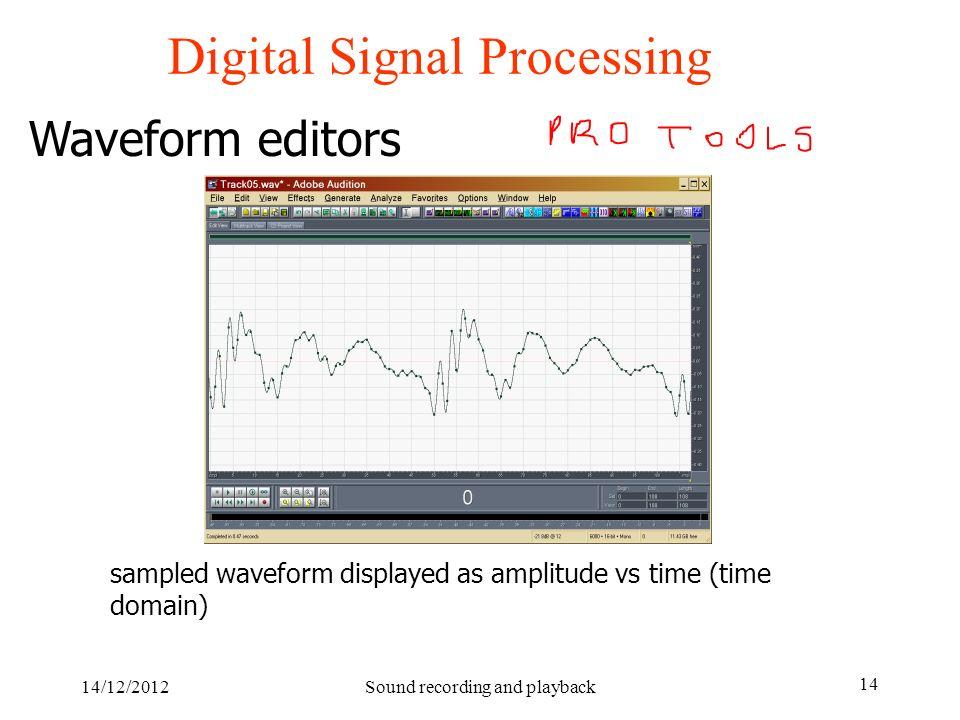 14/12/2012Sound recording and playback 14 Digital Signal Processing Waveform editors sampled waveform displayed as amplitude vs time (time domain)