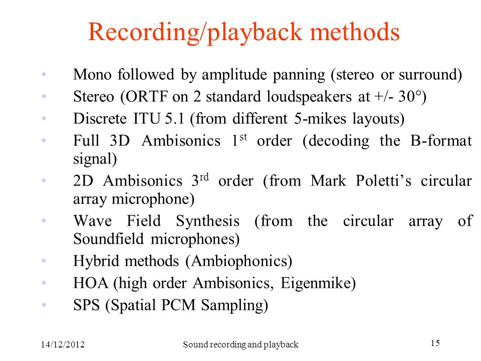14/12/2012Sound recording and playback 15 Recording/playback methods Mono followed by amplitude panning (stereo or surround) Stereo (ORTF on 2 standar