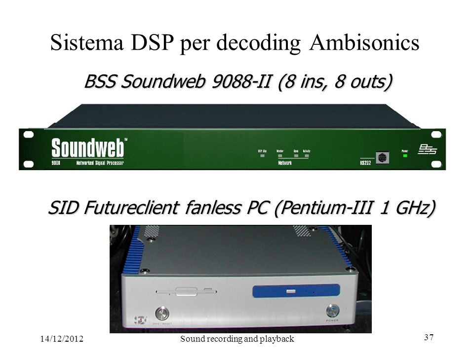 14/12/2012Sound recording and playback 37 BSS Soundweb 9088-II (8 ins, 8 outs) Sistema DSP per decoding Ambisonics SID Futureclient fanless PC (Pentiu