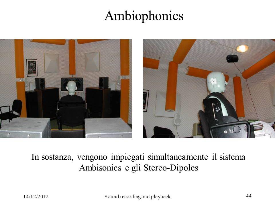14/12/2012Sound recording and playback 44 Ambiophonics In sostanza, vengono impiegati simultaneamente il sistema Ambisonics e gli Stereo-Dipoles