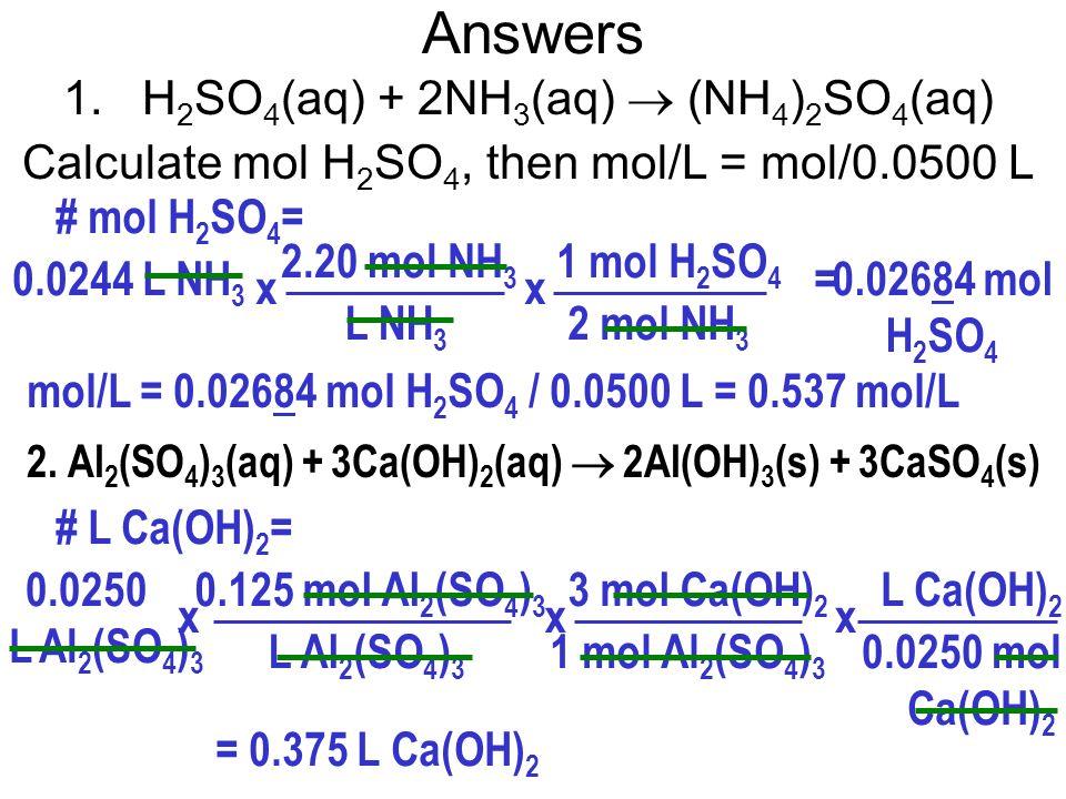 Answers 3 mol Na 2 CO 3 2 mol FeCl 3 x # L Na 2 CO 3 = 0.0750 L FeCl 3 = 0.0900 L Na 2 CO 3 = 90.0 mL Na 2 CO 3 0.200 mol FeCl 3 L FeCl 3 x 3.