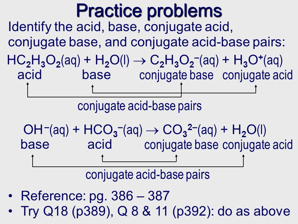 Practice problems Identify the acid, base, conjugate acid, conjugate base, and conjugate acid-base pairs: Reference: pg.