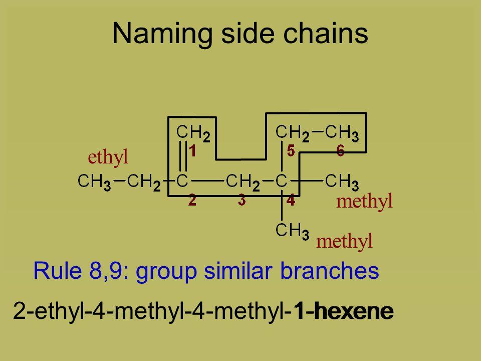 Rule 7: list alphabetically 1-hexene2-ethyl-4-methyl-4-methyl-1-hexene Naming side chains ethyl methyl