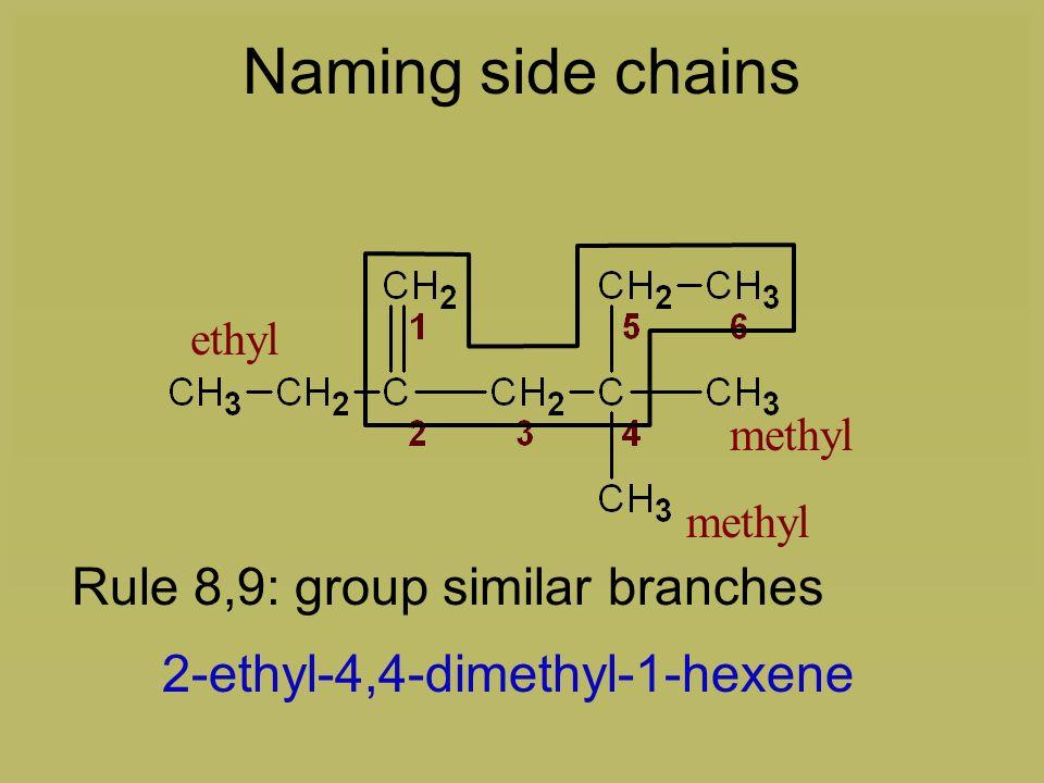 Rule 8,9: group similar branches 1-hexene2-ethyl-4-methyl-4-methyl-1-hexene Naming side chains ethyl methyl