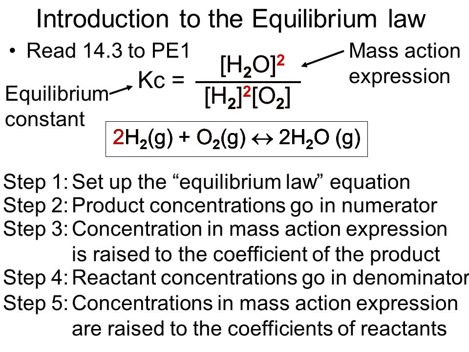 Introduction to the Equilibrium law Read 14.3 to PE1 2H 2 (g) + O 2 (g) 2H 2 O (g) Step 1:Set up the equilibrium law equation Kc = Step 2:Product conc