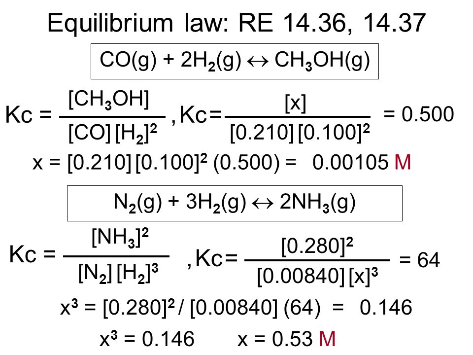 [CH 3 OH] Equilibrium law: RE 14.36, 14.37 CO(g) + 2H 2 (g) CH 3 OH(g) Kc = [CO] [H 2 ] 2 [x], Kc = [0.210] [0.100] 2 = 0.500 N 2 (g) + 3H 2 (g) 2NH 3