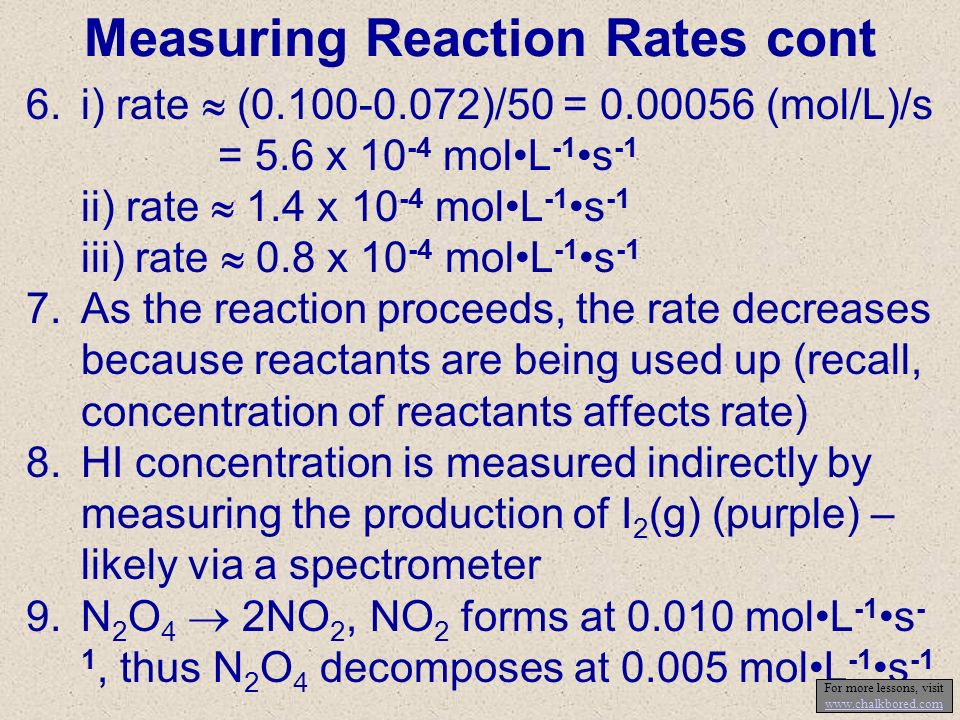 Measuring Reaction Rates cont 6.i) rate (0.100-0.072)/50 = 0.00056 (mol/L)/s = 5.6 x 10 -4 molL -1 s -1 ii) rate 1.4 x 10 -4 molL -1 s -1 iii) rate 0.8 x 10 -4 molL -1 s -1 7.As the reaction proceeds, the rate decreases because reactants are being used up (recall, concentration of reactants affects rate) 8.HI concentration is measured indirectly by measuring the production of I 2 (g) (purple) – likely via a spectrometer 9.N 2 O 4 2NO 2, NO 2 forms at 0.010 molL -1 s - 1, thus N 2 O 4 decomposes at 0.005 molL -1 s -1 For more lessons, visit www.chalkbored.com www.chalkbored.com