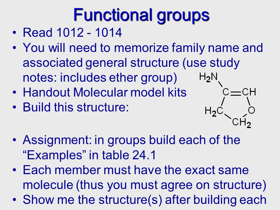 Functional groups Functional groups Read 1012 - 1014 You will need to memorize family name and associated general structure (use study notes: includes