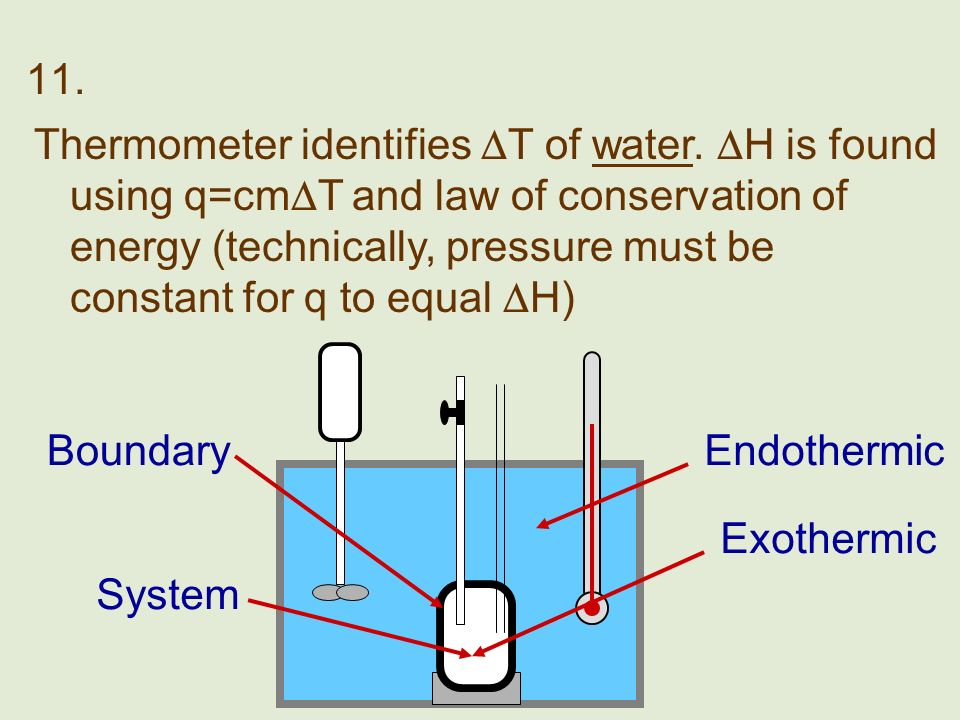 11. BoundaryEndothermic Exothermic Thermometer identifies T of water. H is found using q=cm T and law of conservation of energy (technically, pressure