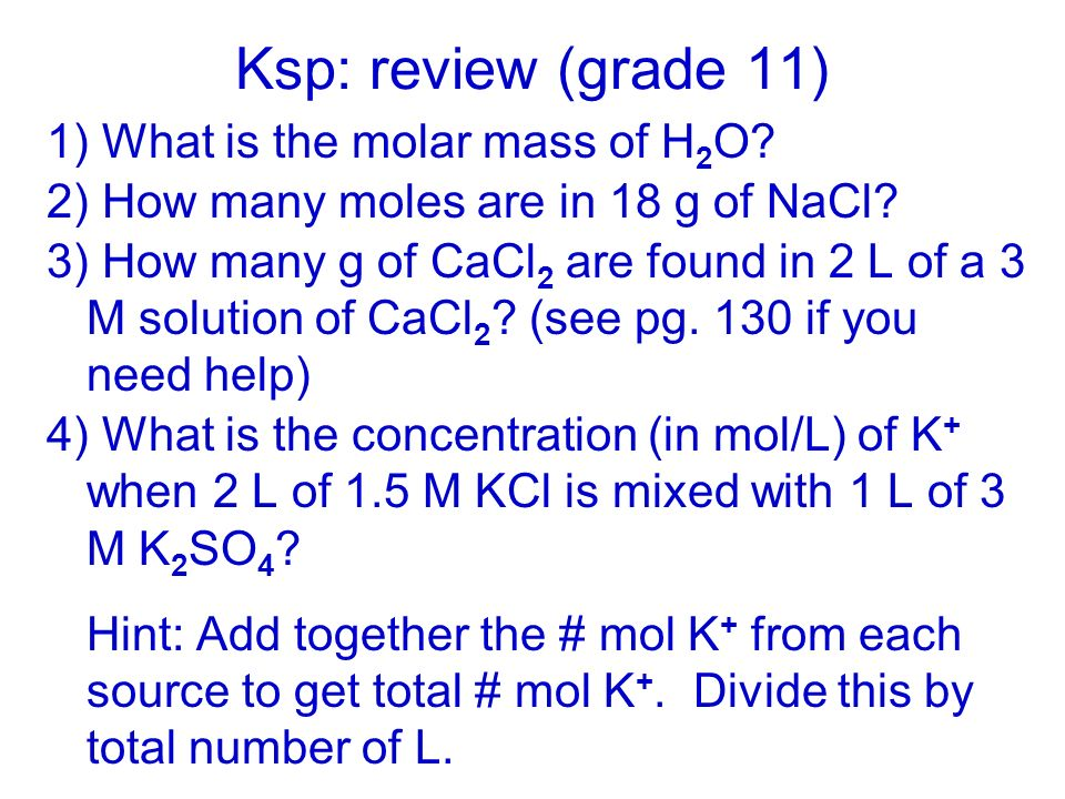 Unit 6: Equilibrium applications Ksp