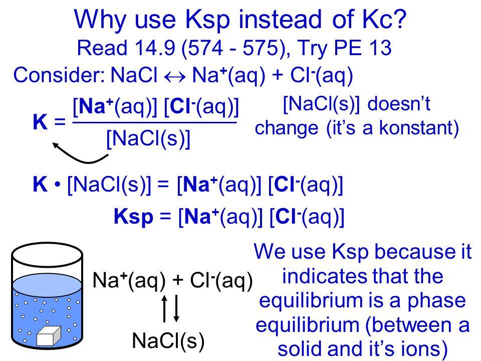 Kc: ignoring solids and liquids 13 a) Kc = [Hg 2 Cl 2 (s)] [Hg(l)] 2 [Cl 2 (g)] = 1 [Cl 2 (g)] Remove solids & liquids, keep gases & ions Read 14.9 (5