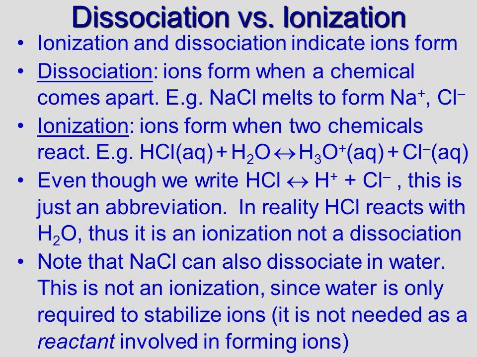 Dissociation vs.