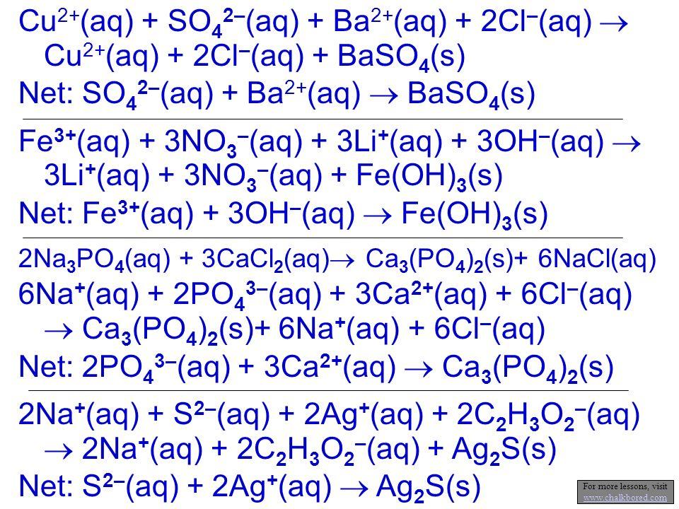 NaOH(aq) + MgCl 2 (aq) Mg(OH) 2 (s) + NaCl(aq) Next, balance the equation First write the skeleton equation 2 2 Ionic equation: 2Na + (aq) + 2OH - (aq