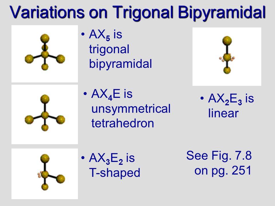 Variations on Trigonal Bipyramidal AX 5 is trigonal bipyramidal AX 4 E is unsymmetrical tetrahedron AX 3 E 2 is T-shaped AX 2 E 3 is linear See Fig. 7