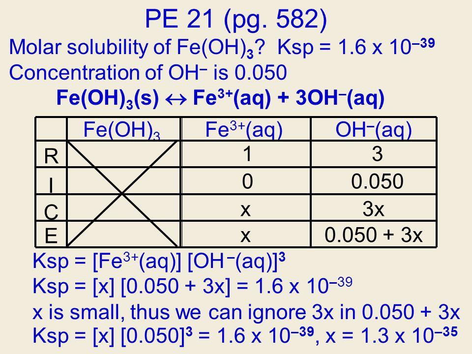 Fe(OH) 3 Fe 3+ (aq)OH – (aq) 13 00.050 x3x 0.050 + 3xx R I C E Ksp = [x] [0.050 + 3x] = 1.6 x 10 –39 Ksp = [Fe 3+ (aq)] [OH – (aq)] 3 PE 21 (pg. 582)