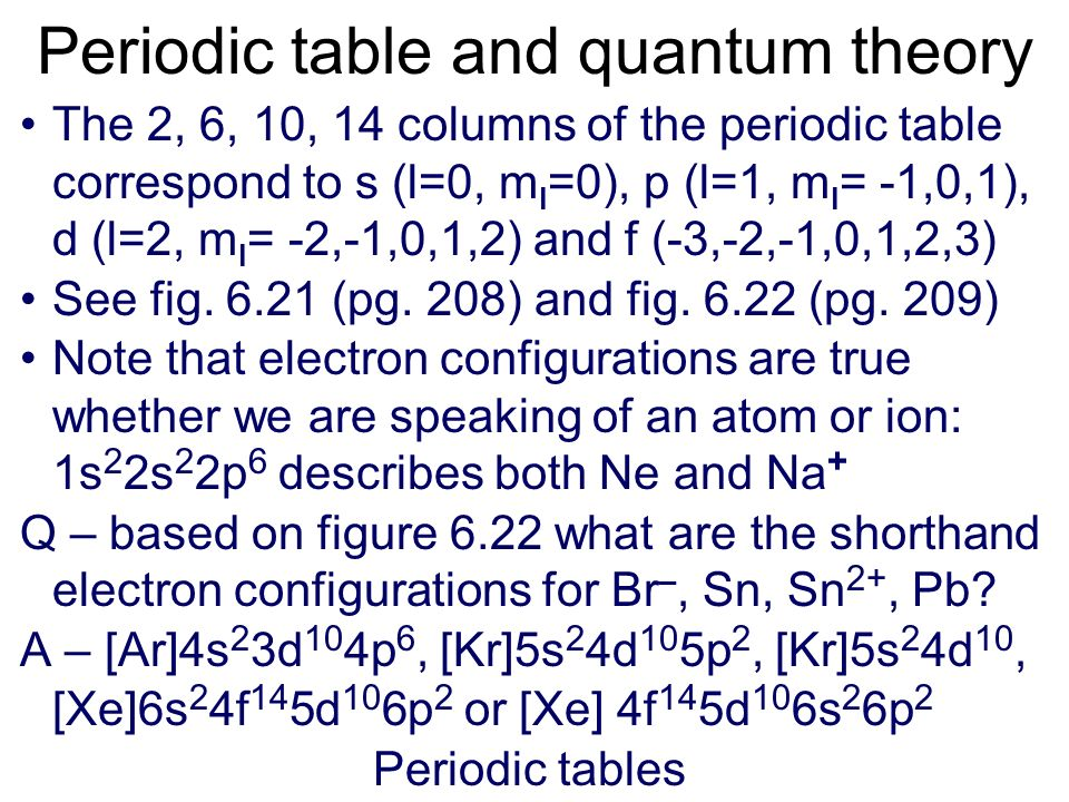 Periodic table arrangement the quantum theory helps to explain the structure of the periodic table. n - 1 indicates that the d subshell in period 4 ac