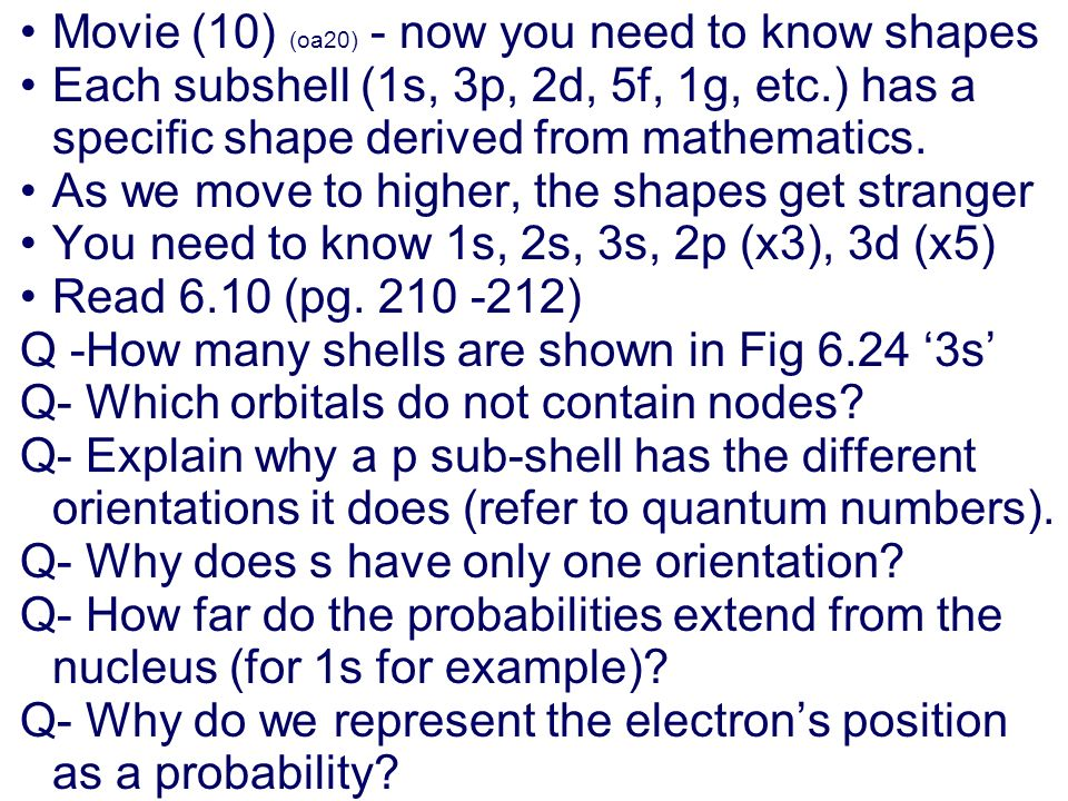 Summary: p orbitals and d orbitals p orbitals look like a dumbell with 3 orientations: p x, p y, p z (p sub z). Four of the d orbitals resemble two du