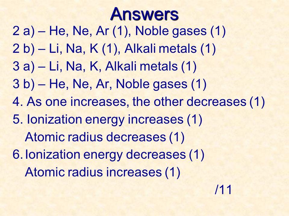 Answers 2 a) – He, Ne, Ar (1), Noble gases (1) 2 b) – Li, Na, K (1), Alkali metals (1) 3 a) – Li, Na, K, Alkali metals (1) 3 b) – He, Ne, Ar, Noble ga