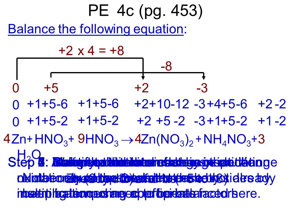 Step 4: Make the number of atoms that change oxidation number the same on both sides by inserting temporary coefficients Step 6: Make the total increa