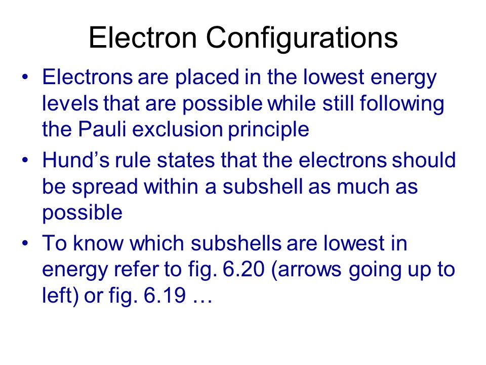 Electron Configurations Electrons are placed in the lowest energy levels that are possible while still following the Pauli exclusion principle Hunds r