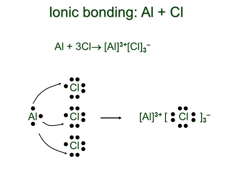 Ionic bonding: Al + Cl [ Cl ] 3 – [Al] 3+ Al + 3Cl [Al] 3+ [Cl] 3 – ClAlCl