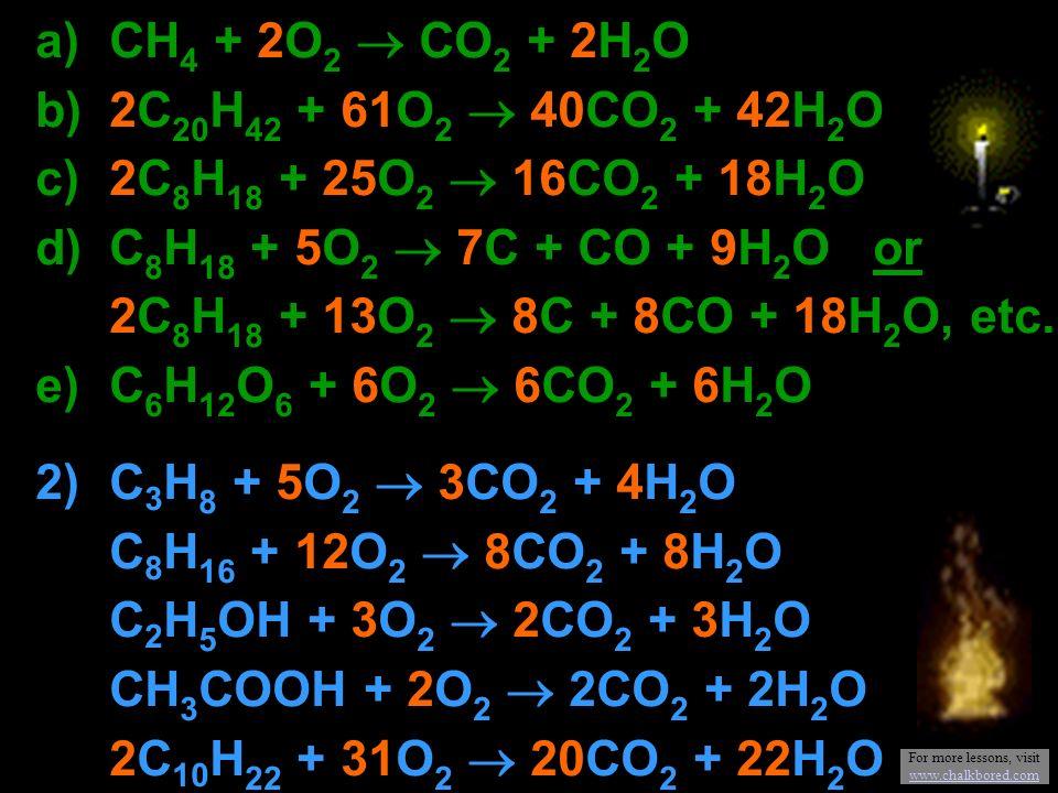 a) CH 4 + 2O 2 CO 2 + 2H 2 O b) 2C 20 H 42 + 61O 2 40CO 2 + 42H 2 O c) 2C 8 H 18 + 25O 2 16CO 2 + 18H 2 O d) C 8 H 18 + 5O 2 7C + CO + 9H 2 O or 2C 8 H 18 + 13O 2 8C + 8CO + 18H 2 O, etc.