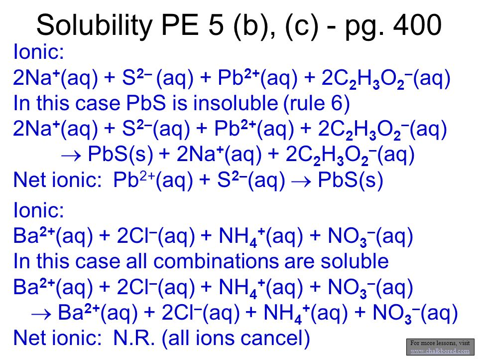 Solubility PE 5 (a) - pg. 400 Ionic: Ag + (aq) + NO 3 - (aq) + NH 4 + (aq) + Cl - (aq) Note: combine, in your head, the positive and negative ions. If