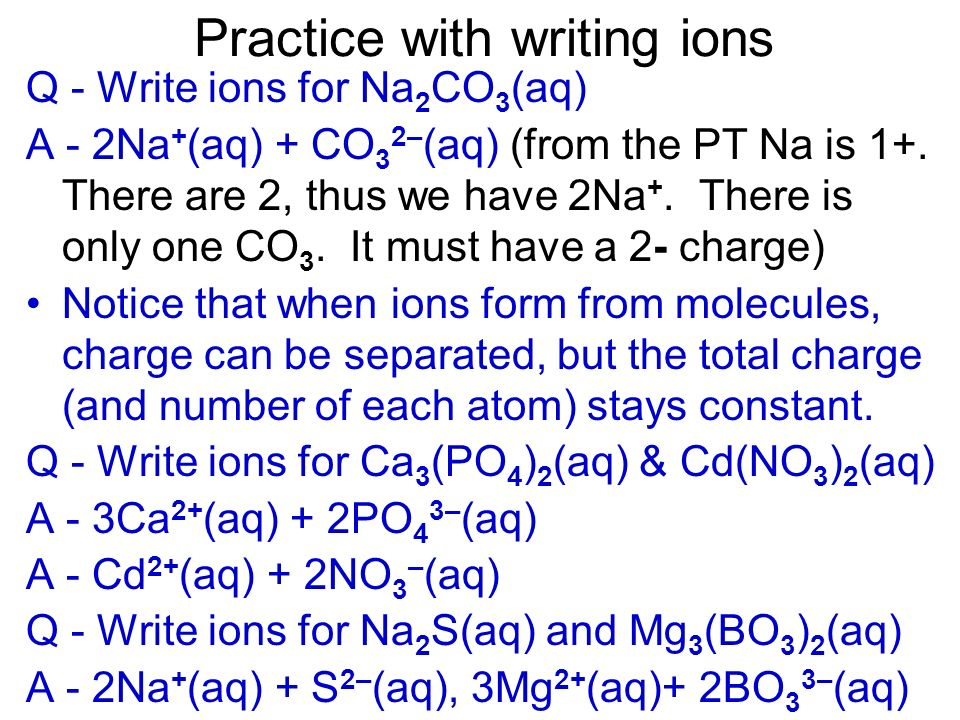 Charge can also be found via the compound E.g. in NaNO 3 (aq) if you know Na forms Na +, then NO 3 must be NO 3 – (NaNO 3 is neutral) By knowing the v