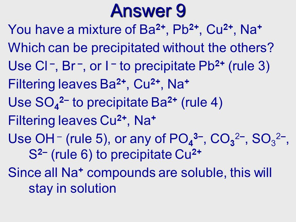 Answer 9 You have a mixture of Ba 2+, Pb 2+, Cu 2+, Na + Which can be precipitated without the others? Use Cl –, Br –, or I – to precipitate Pb 2+ (ru