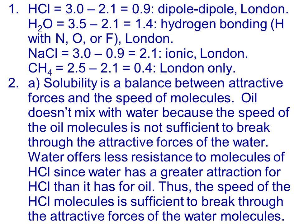 1.HCl = 3.0 – 2.1 = 0.9: dipole-dipole, London.
