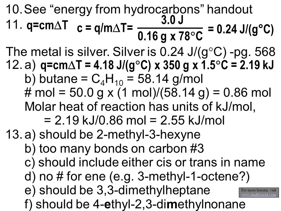 10.See energy from hydrocarbons handout 11.