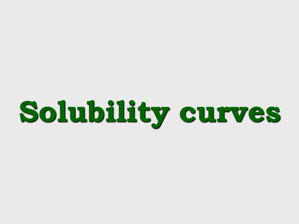Solubility curves