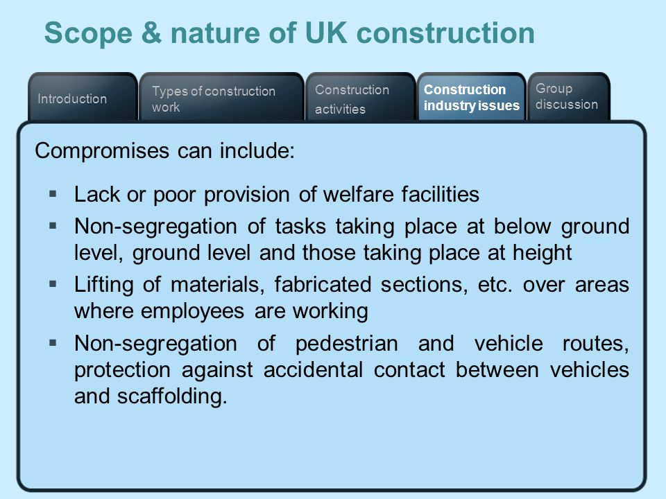 Types of construction work Construction industry issues Construction activities Introduction Group discussion Scope & nature of UK construction Compro