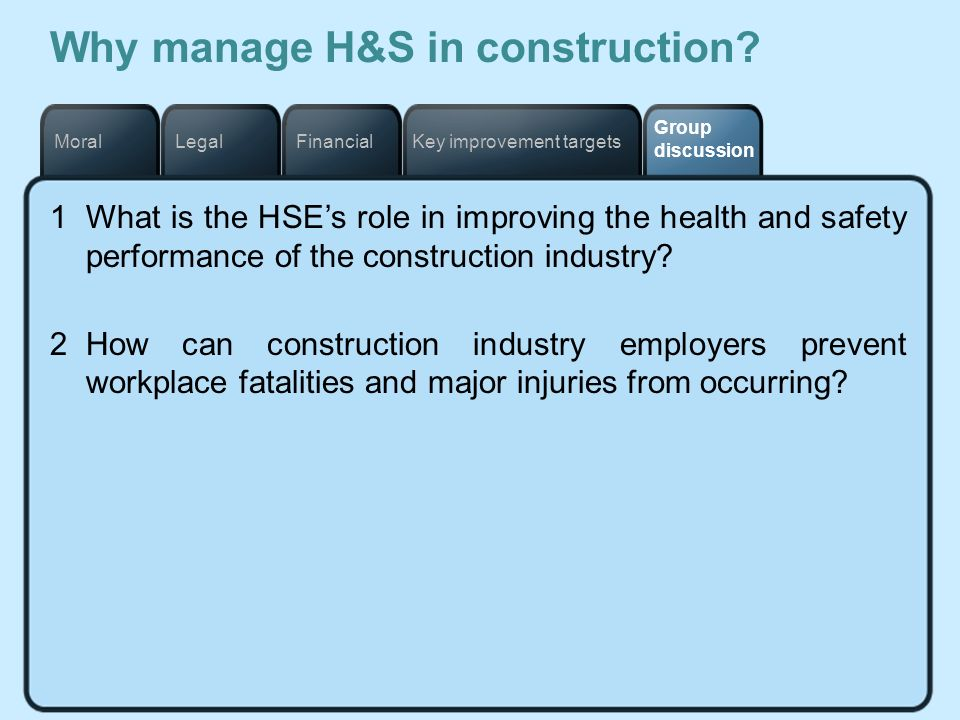 Key improvement targetsFinancialLegalMoral Group discussion Why manage H&S in construction? 1What is the HSEs role in improving the health and safety