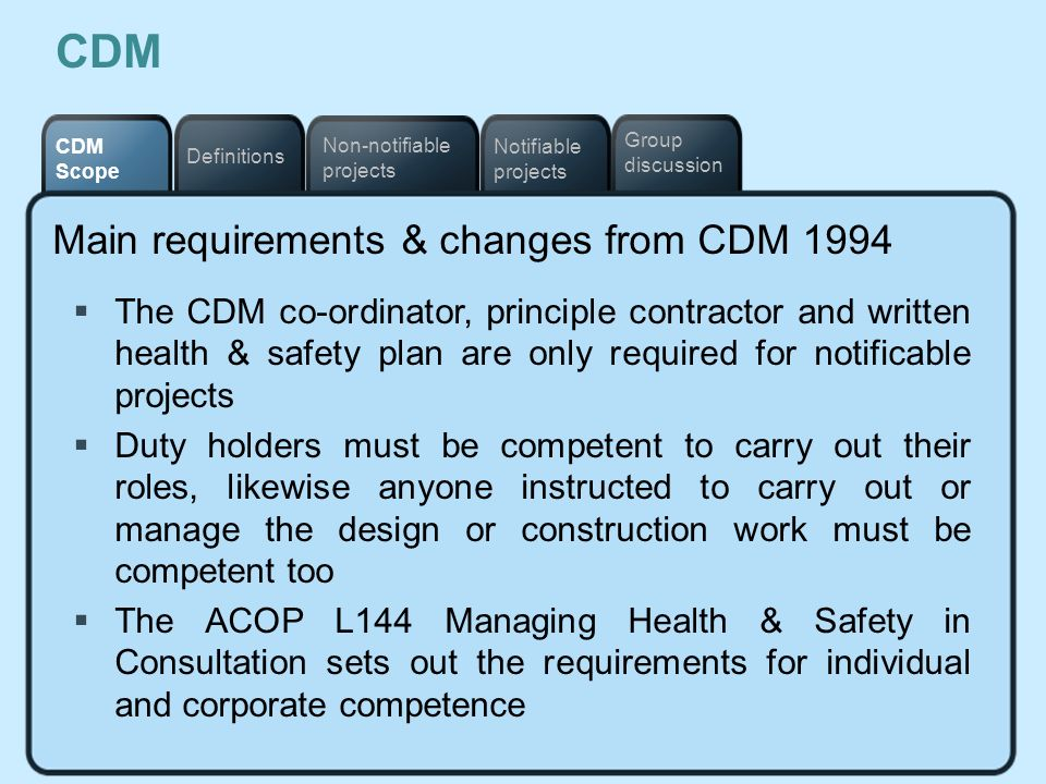 Notifiable projects Definitions Non-notifiable projects CDM Scope Group discussion CDM Main requirements & changes from CDM 1994 The CDM co-ordinator,