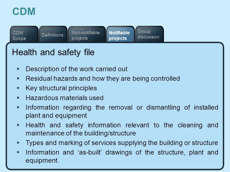 Notifiable projects Definitions Non-notifiable projects CDM Scope Group discussion CDM Health and safety file Description of the work carried out Resi
