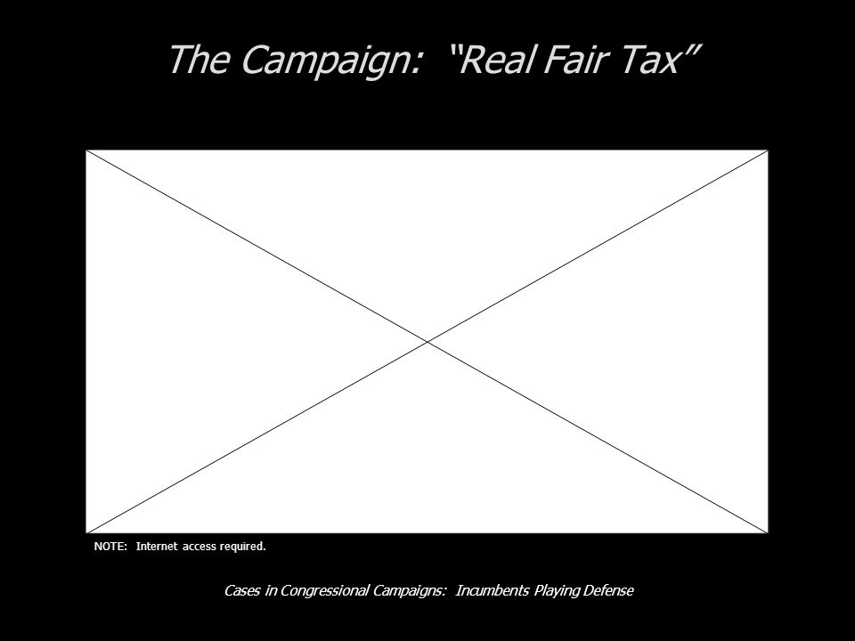 Cases in Congressional Campaigns: Incumbents Playing Defense The Campaign: Real Fair Tax NOTE: Internet access required.