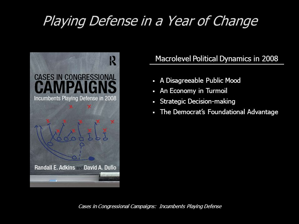Cases in Congressional Campaigns: Incumbents Playing Defense Playing Defense in a Year of Change Macrolevel Political Dynamics in 2008 A Disagreeable Public Mood An Economy in Turmoil Strategic Decision-making The Democrats Foundational Advantage