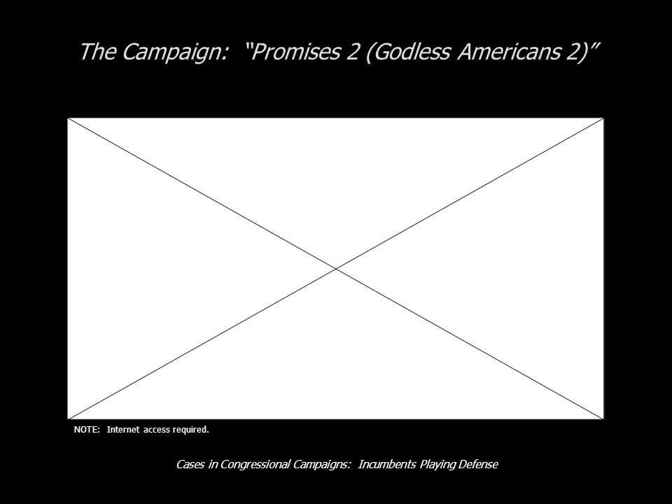 Cases in Congressional Campaigns: Incumbents Playing Defense The Campaign: Promises 2 (Godless Americans 2) NOTE: Internet access required.