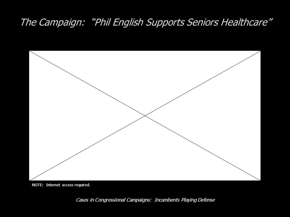 Cases in Congressional Campaigns: Incumbents Playing Defense The Campaign: Phil English Supports Seniors Healthcare NOTE: Internet access required.