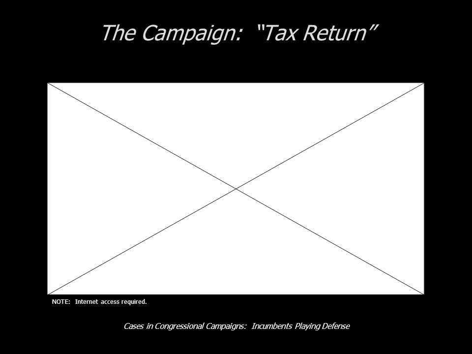 Cases in Congressional Campaigns: Incumbents Playing Defense The Campaign: Tax Return NOTE: Internet access required.