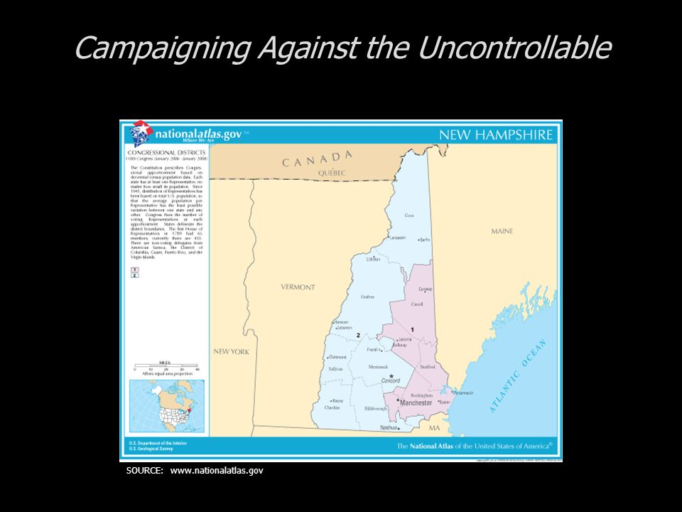 Cases in Congressional Campaigns: Incumbents Playing Defense Campaigning Against the Uncontrollable The State of New Hampshire The Candidates The Campaign The Results SOURCE: www.nationalatlas.gov