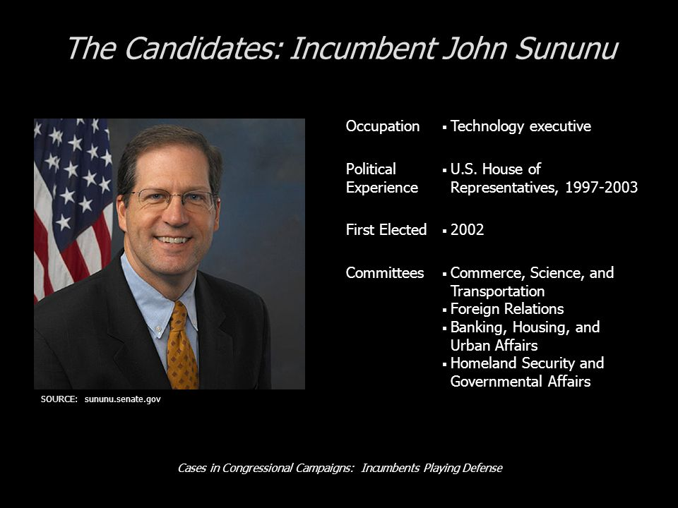 Cases in Congressional Campaigns: Incumbents Playing Defense The Candidates: Incumbent John Sununu Occupation Technology executive Political Experience U.S.