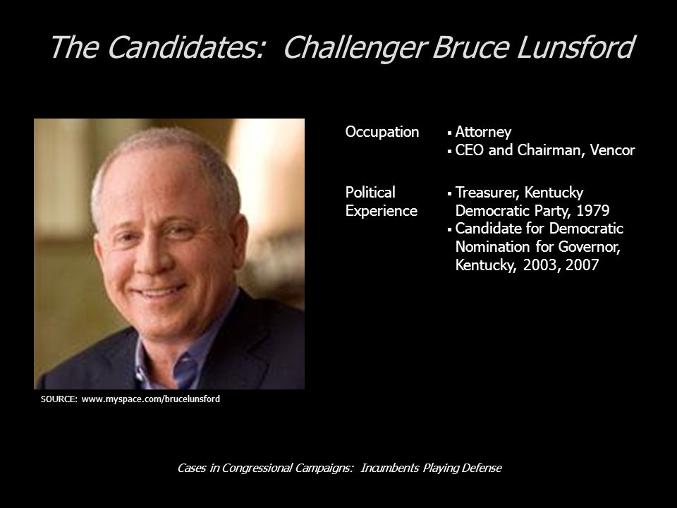 Cases in Congressional Campaigns: Incumbents Playing Defense The Candidates: Challenger Bruce Lunsford Occupation Attorney CEO and Chairman, Vencor Political Experience Treasurer, Kentucky Democratic Party, 1979 Candidate for Democratic Nomination for Governor, Kentucky, 2003, 2007 SOURCE: www.myspace.com/brucelunsford