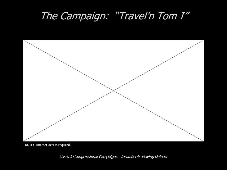 Cases in Congressional Campaigns: Incumbents Playing Defense The Campaign: Traveln Tom I NOTE: Internet access required.