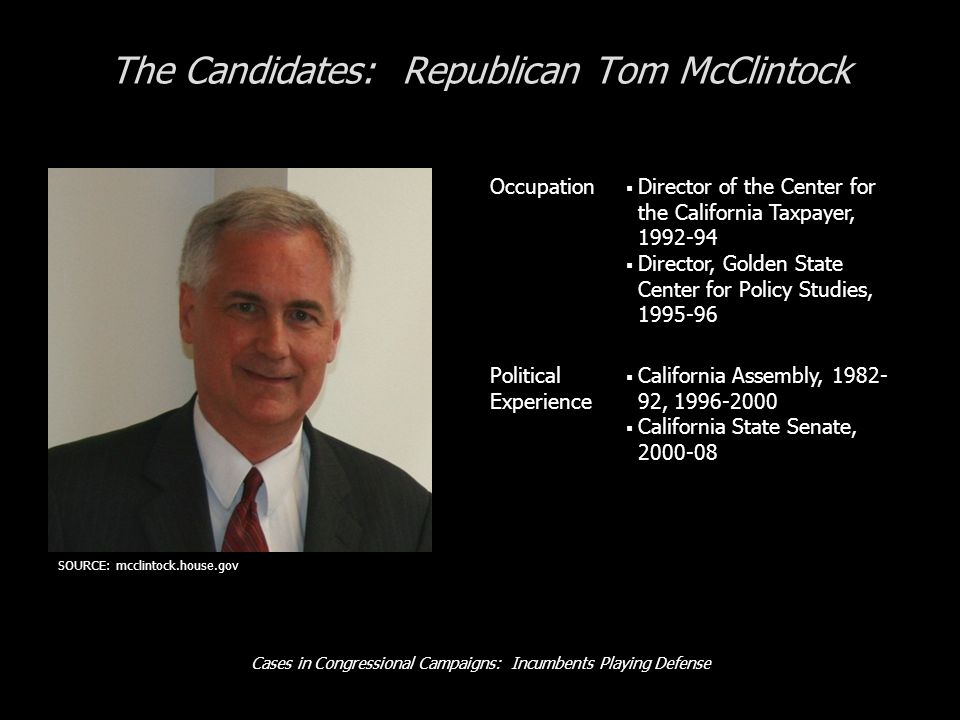 Cases in Congressional Campaigns: Incumbents Playing Defense The Candidates: Republican Tom McClintock Occupation Director of the Center for the Calif