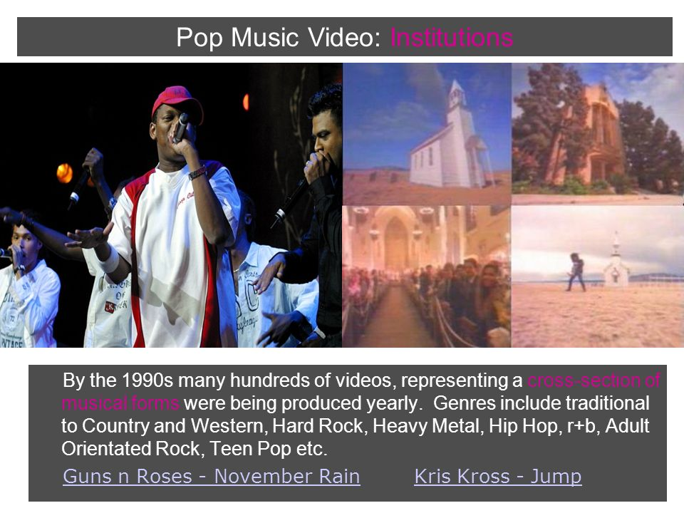 By the 1990s many hundreds of videos, representing a cross-section of musical forms were being produced yearly.