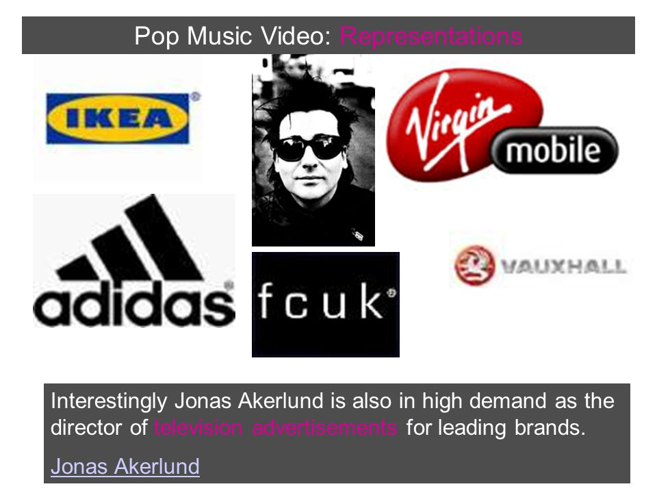 Interestingly Jonas Akerlund is also in high demand as the director of television advertisements for leading brands.