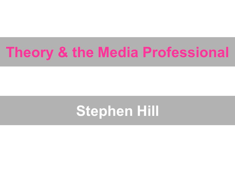 Theory & the Media Professional Stephen Hill